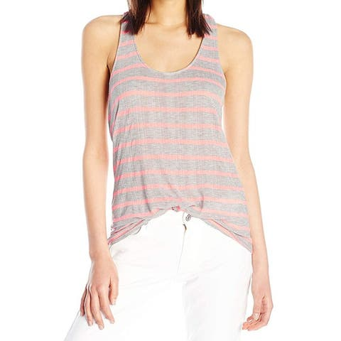 Splendid Womens Top Gray Pink Size Large L Striped Ribbed Tank Stretch
