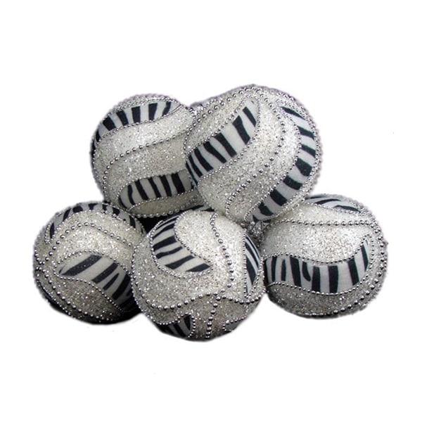 """6 December Diamonds Zebra Print Shatterproof Christmas Ball Ornaments 3.75"""" - WHITE"""