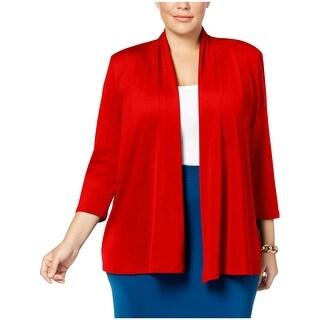 Kasper Womens Plus Open-Front Blazer Jersey 3/4 Sleeves