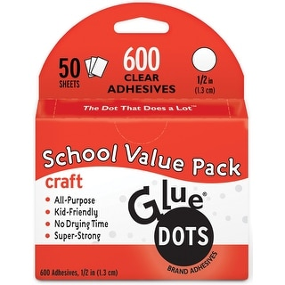 """Glue Dots .5"""" Craft Dot Sheets Value Pack-600 Clear Dots"""