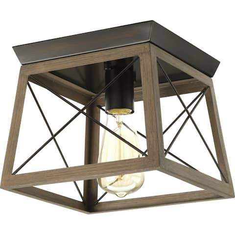 "Briarwood Collection Rich Oak Farmhouse Flush Mount Ceiling Light - 10.000"" x 11.750"" x 12.120"""