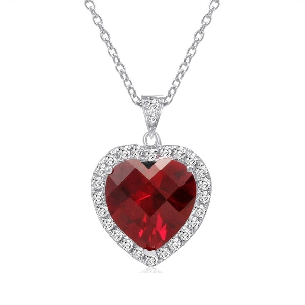 Amanda Rose Sterling Silver Created Ruby and White Sapphire Heart Pendant-Necklace (12ct TGW)