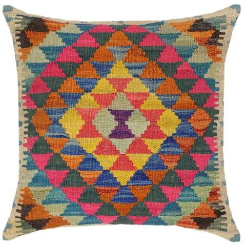 Shabby Chic Merlyn Hand-Woven Turkish Kilim Throw Pillow