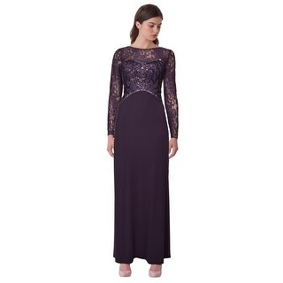 Sue Wong Sequin Embellished Lace Long Sleeve Jersey Evening Gown Dress - 4