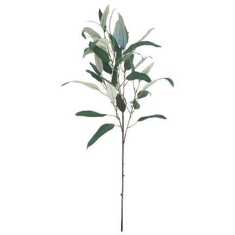 """Set of 2 Frosted Green Long Willow Eucalyptus Leaf Spray 38in - 38"""" L x 13"""" W x 9"""" DP"""