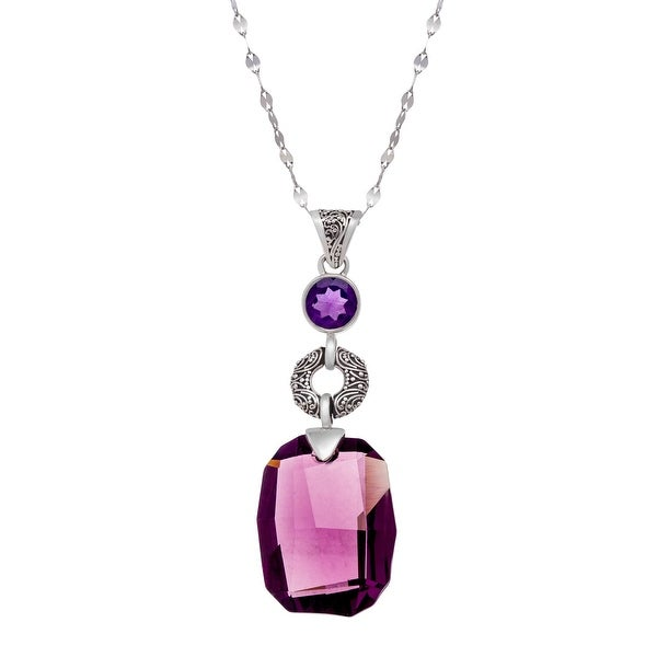 Sajen Pendant with Purple Swarovski elements Crystal & Natural 2Purple in Sterling Silver