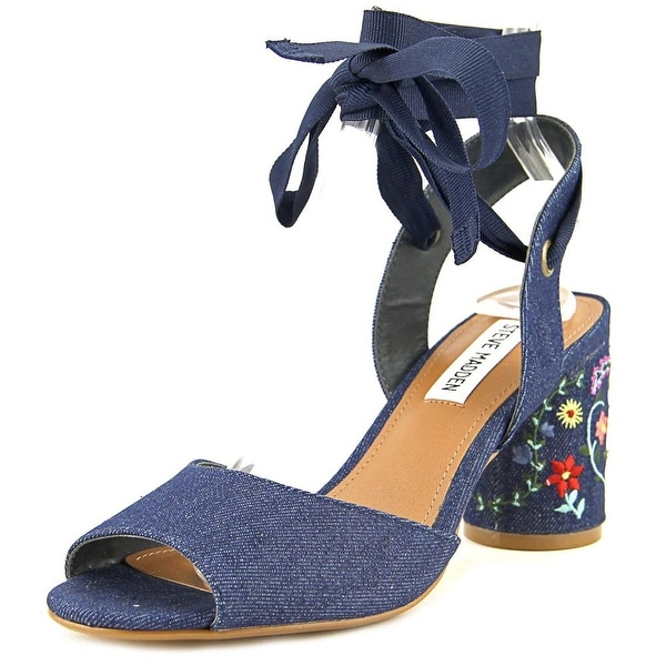 Steve Madden Victorya Women Open Toe Canvas Blue Sandals