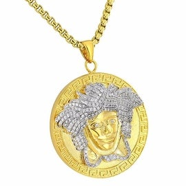 "Designer Medusa Face Pendant 18K Gold Finish Simulated Diamonds Free Stainless Steel Box Chain 24"""