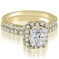 1.34 cttw. 14K Yellow Gold Emerald Cut Halo Diamond Bridal Set - Thumbnail 0