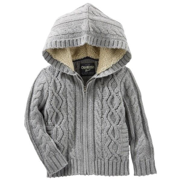 57955b9ea Shop OshKosh B Gosh Little Boys  Grey Hooded Cable Knit Zip-Up - 4 ...