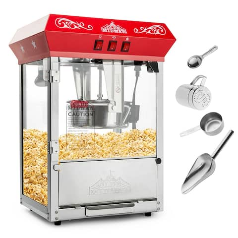 Bar Style Popcorn Machine Maker Popper with Large 10-Ounce Kettle