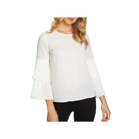 1.State Womens Blouse Pleated Bell-Sleeves