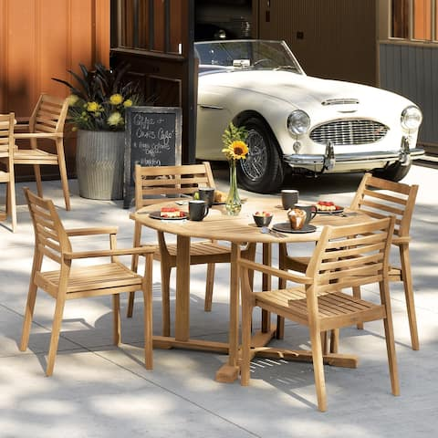 Oxford Garden Oxford 5-Piece Natural Dining Table Set with Mera Chairs