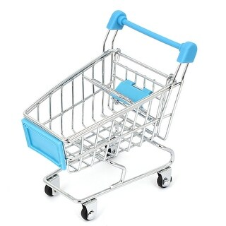 Mini Shopping Cart Hand Trolly Toy Desktop Storage Container Blue