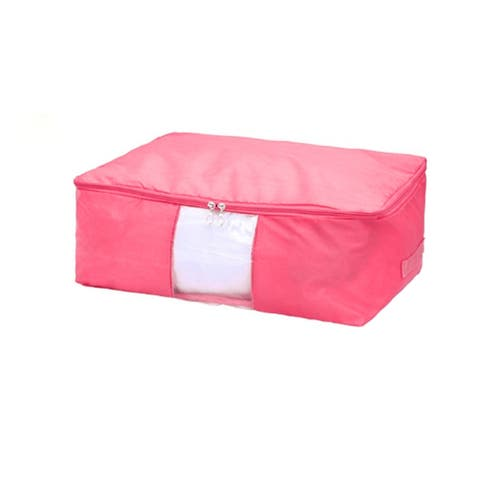 Blanket Pillows Quilt Clothes Beddings Storage Bag Organizer Pink 50 x 35 x 20cm