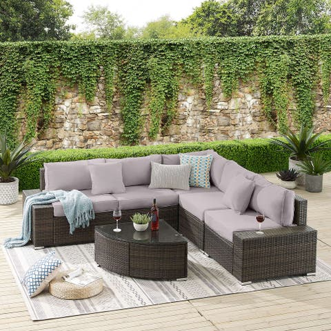 Tribesigns 6 Pieces Patio Furniture Set, Outdoor Rattan Wicker Sectional Sofa Furniture with Cushions and Glass Table