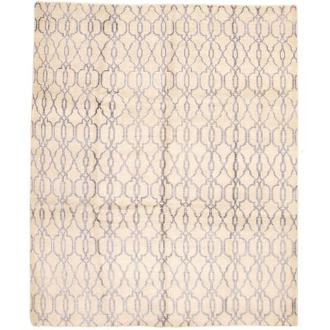 ECARPETGALLERY Hand-knotted Eternity Light Grey Silk, Wool Rug - 8'0 x 9'10