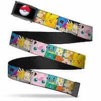 Poke Ball Fcg  Chrome Starter Pokemon Panels W Pikachu & Meowth Webbing Web Belt