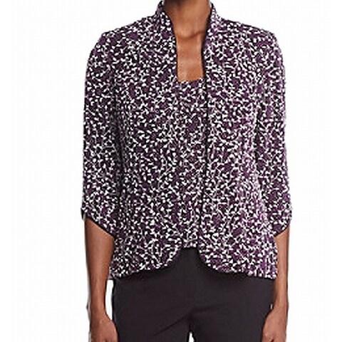 Alex Evenings NEW Purple Women's Size Medium M Twinset Floral Sweater