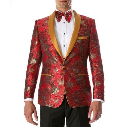 Ferrecci Mens Hugo Premium Floral Pattern Shawl Slim Fit Tuxedo Blazer