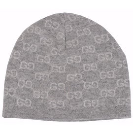 New Gucci Men's 387577 100-percent Cashmere Grey GG Guccissima Beanie Ski Winter Hat