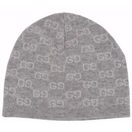 Gucci Men's 387577 100% Cashmere Grey GG Guccissima Beanie Ski Winter Hat