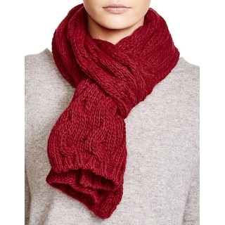 Echo Design Ladies Dark Red Cable Knit Scarf Made In Italy