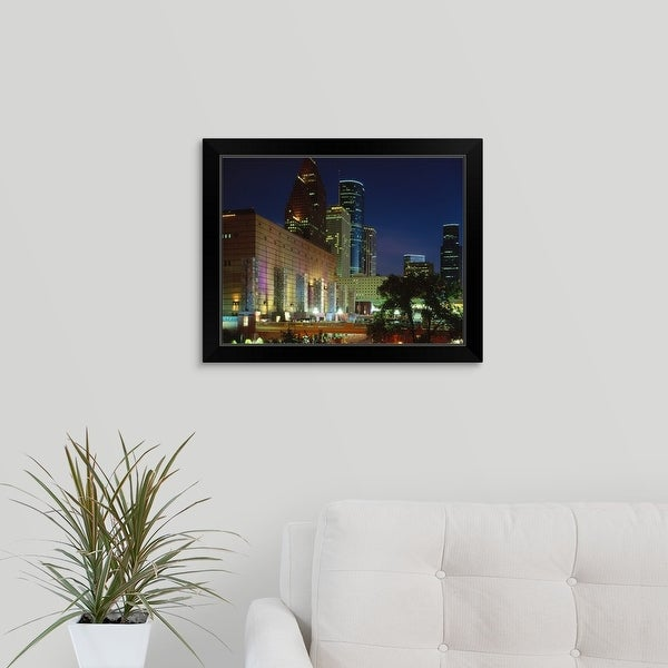 """Skyscrapers in a city, Houston, Texas"" Black Framed Print"