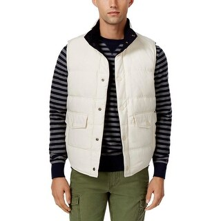 Tommy Hilfiger Mens Outerwear Vest Wool Blend Quilted - M