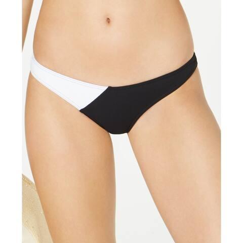 Volcom Juniors' Simply Rib Colorblocked Cheeky Bikini Bottoms, Black, M