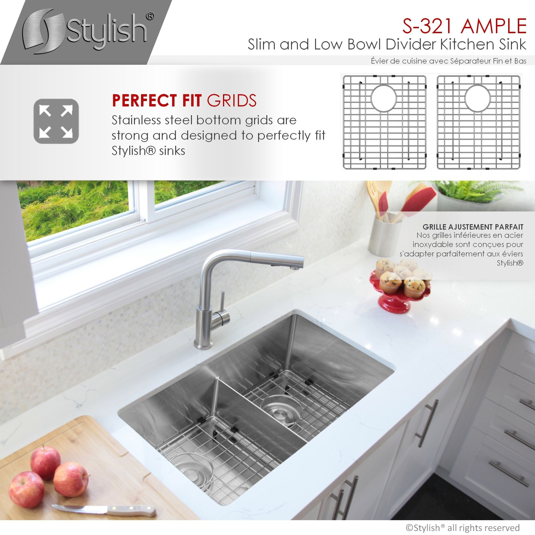 32 L X 18 W Stainless Steel Double Basin Low Divider Undermount Kitchen Sink With Grids And Strainers Overstock 27961590