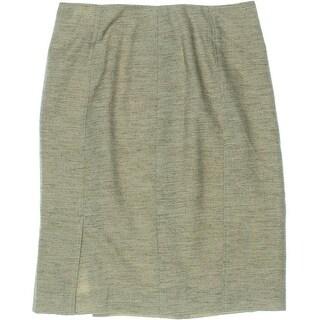 Kasper Womens Petites Textured Lined Pencil Skirt