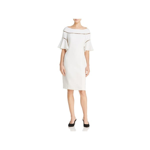 837f682eddd63 Laundry by Shelli Segal Womens Special Occasion Dress Pearl Trim Bell Sleeve
