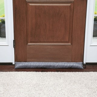 """Home District Jacquard Handled Draft Dodger - Weighted Door/Window Breeze, Bug and Noise Guard Stopper Blocker -36"""" Long"""