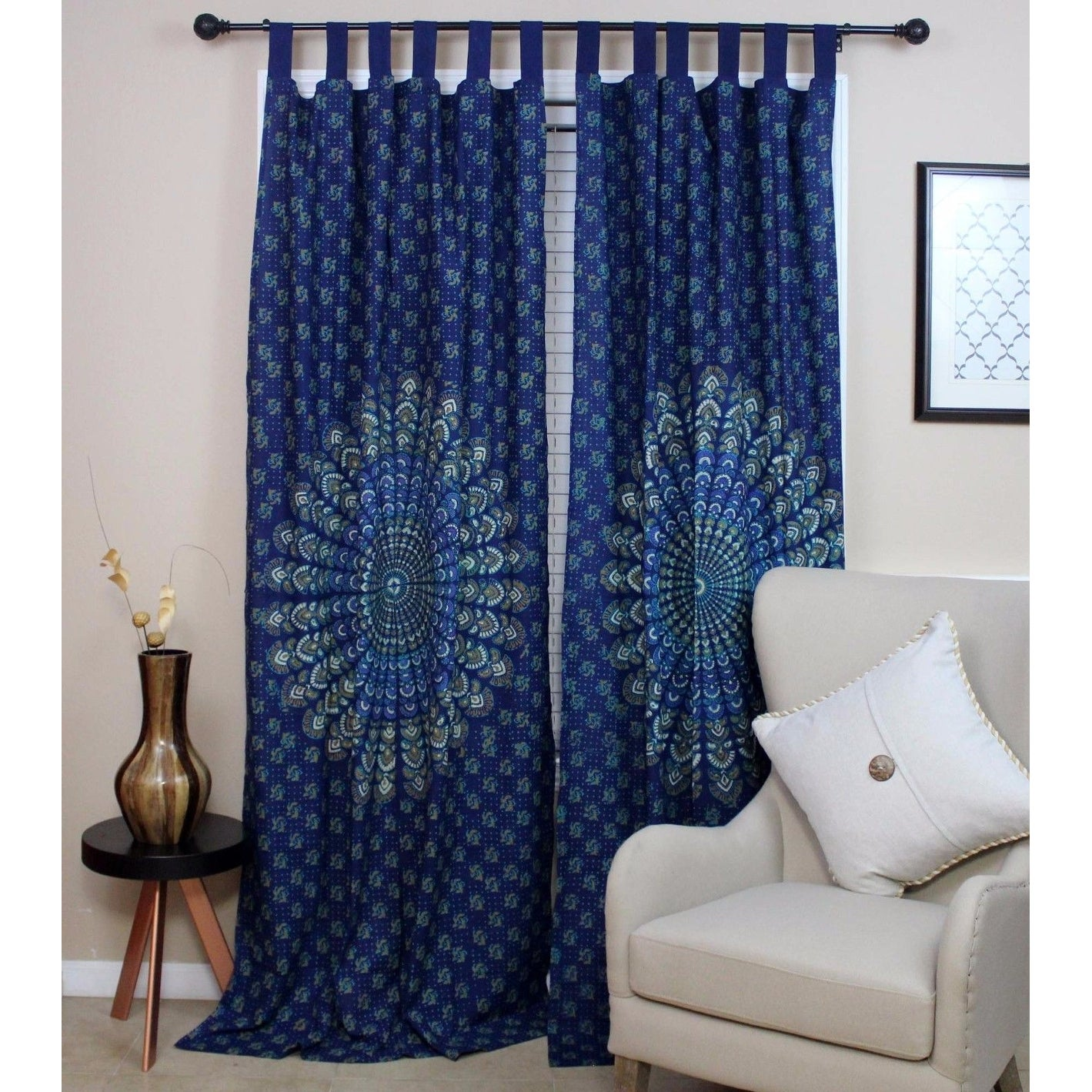 Handmade Sanganer Peacock Floral Design 100% Cotton Tab Top Curtain Drape Panel 44x88 in Blue and Red - 44 x 88 - Thumbnail 0