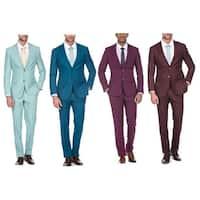 Porto Filo Men's 2 Piece Slim Fit Suit (Mint, Teal, Magenta, Burgundy)