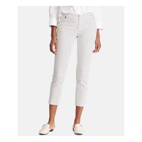 RALPH LAUREN Womens Ivory Striped Skinny Pants Size 12
