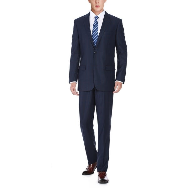 Mens Two Piece Classic Fit Windowpane Check Dress Suit