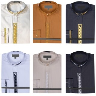 Men's Banded Collar Dress Shirt with Embroidery
