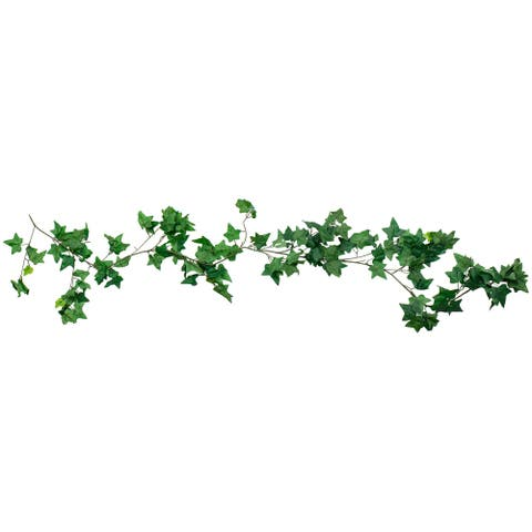 6' Lush Green and Brown Needle Point Ivy Leaf Artificial Garland