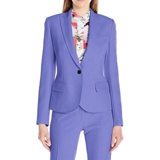 Anne Klein NEW Purple Women's Size 10 Stitch Trim Single-Button Blazer
