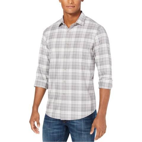 Club Room Mens Briston Button Up Shirt, Grey, Small