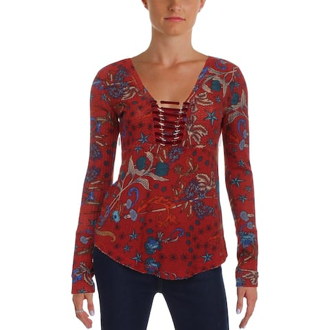 William Rast Womens Adeline Pullover Top Knit Printed