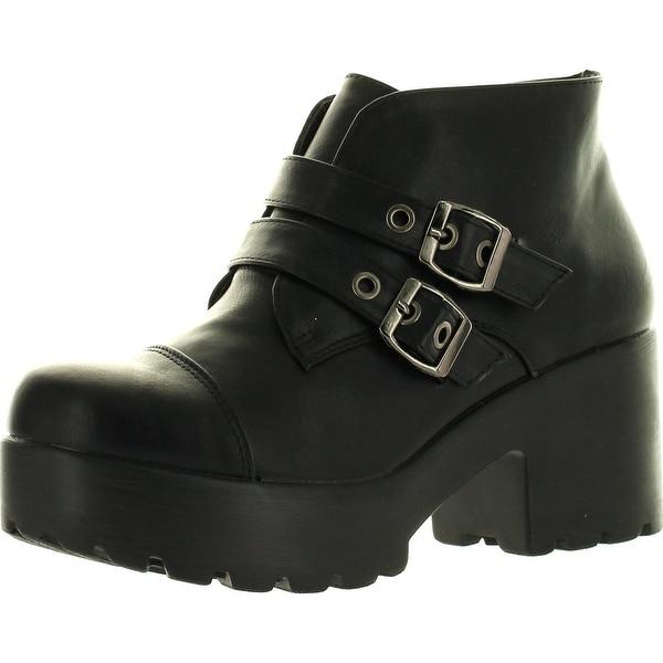 Static Footwear Hayden-3 Women Round Toe Buckle Strap Side Zip Platform Chunky Ankle Booties - Black