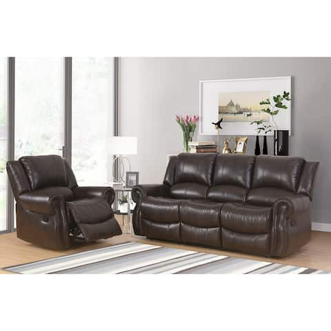 Abbyson Bradford Manual Reclining Sofa and Recliner Set