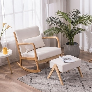 Link to Comfortable Rocking Chair Fabric Oak Sofa Accent Chair (Footrest Stool Optional) Similar Items in Accent Chairs