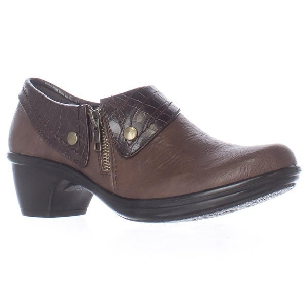 Easy Street Darcy Comfort Ankle Boots, Tan Brown Croco