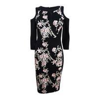 JAX Women's Cold-Shoulder Embroidered Sheath Dress - Black Multi