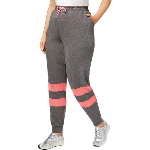 3af46b55f8a6c Shop Material Girl Womens Plus Jogger Pants Mesh Inset Fitness ...