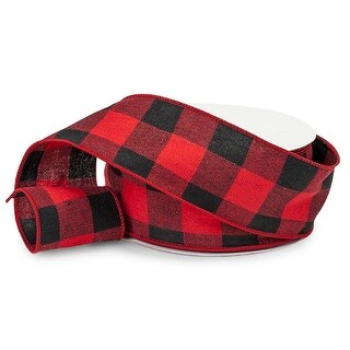 """Pack Of 1, Buffalo Plaid Red & Black Wired Ribbon 2.5"""" X 25 Yards Perfect For Making Bows To Christmas Season Or Every Day Use"""